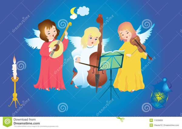 Christmas Angels Singing Stock Vector. Illustration Of