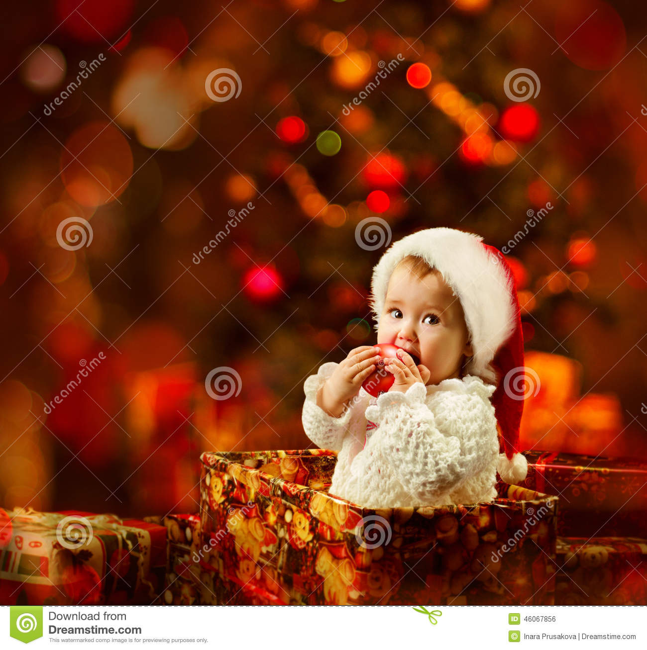 Lovely Girl Boy Wallpaper Christmas Baby In Santa Hat Holding Red Ball In Present