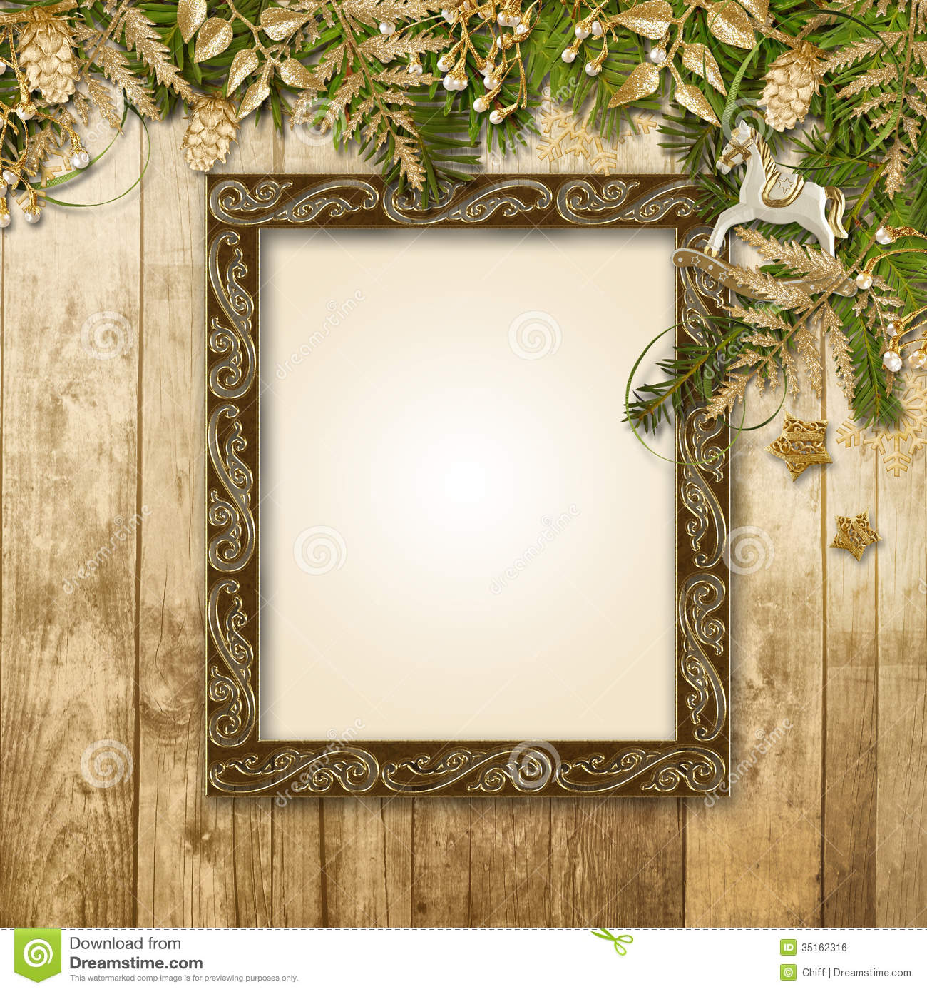 Christmas Background With A Gorgeous Garland And Frame For