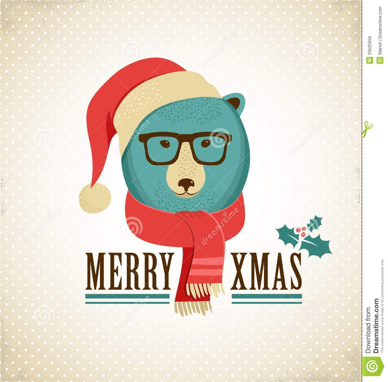 Christmas Background With Hipster Bear Stock Vector