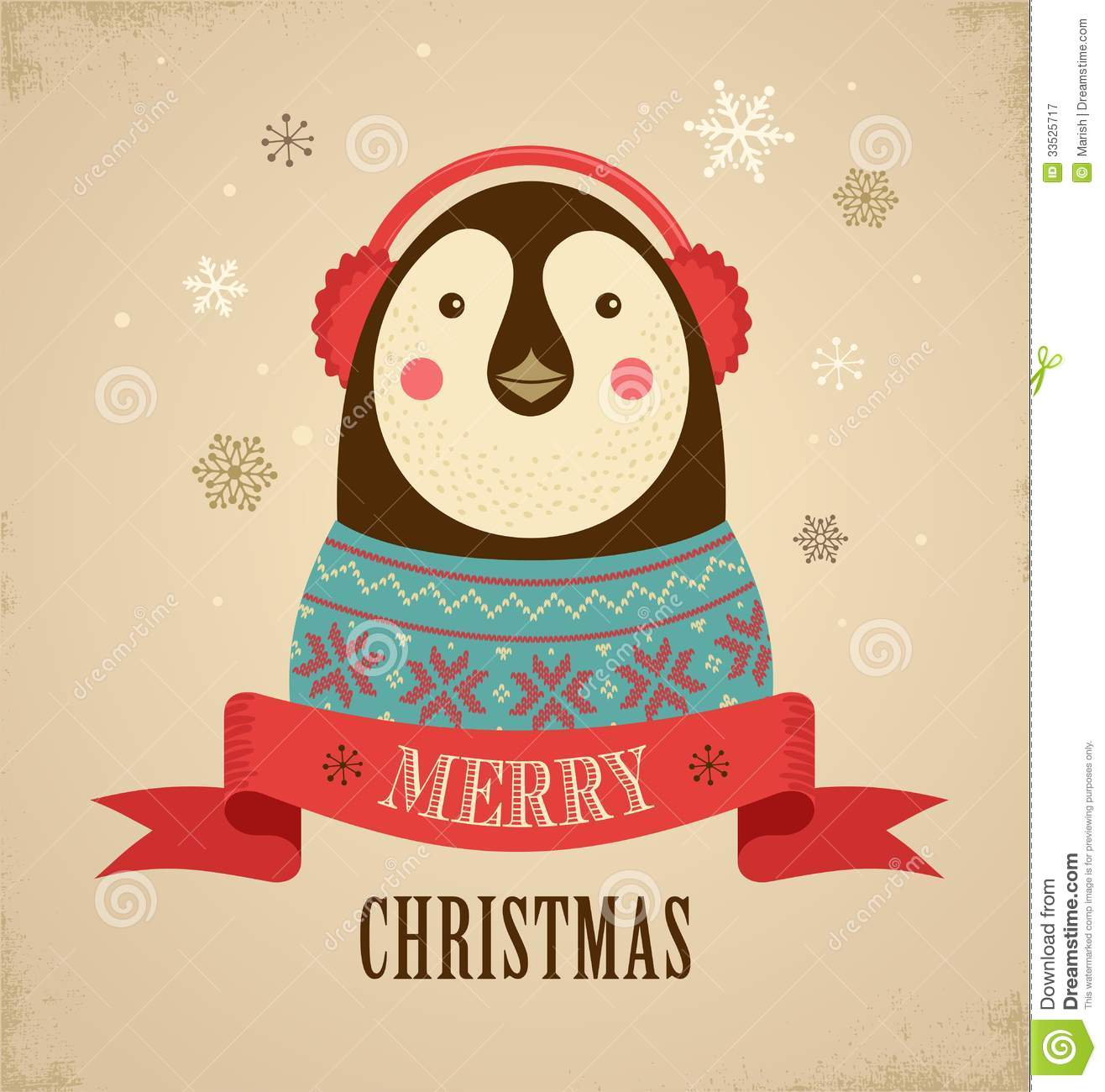 Christmas Background With Hipster Penguin Royalty Free