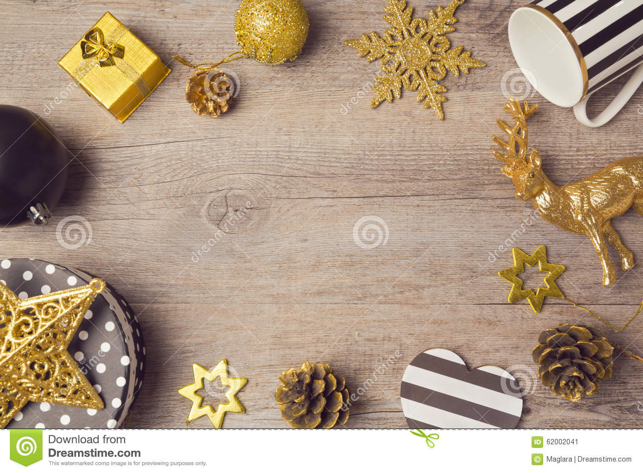 Christmas Background With Modern Black And Golden