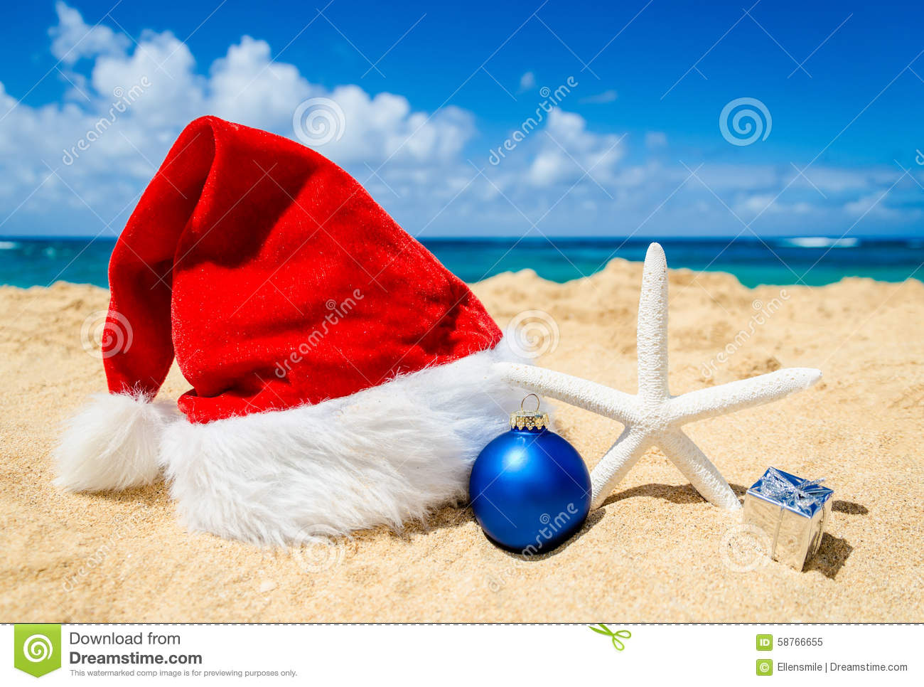 Christmas Background With Santa Claus Hat And Staerfish