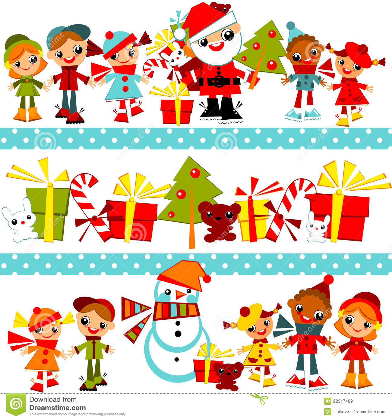 Christmas Background With Set Kids Royalty Free Stock