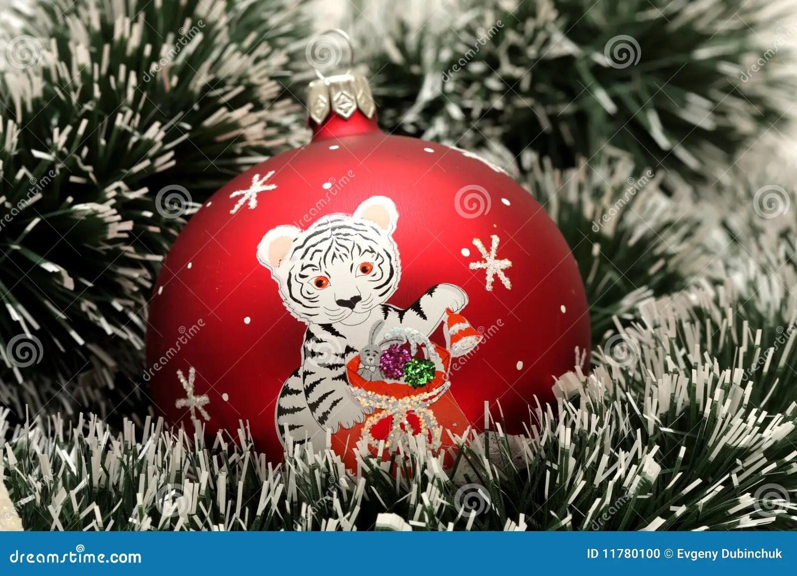 Christmas Ball With Drawing Of Tiger Stock Photo Image