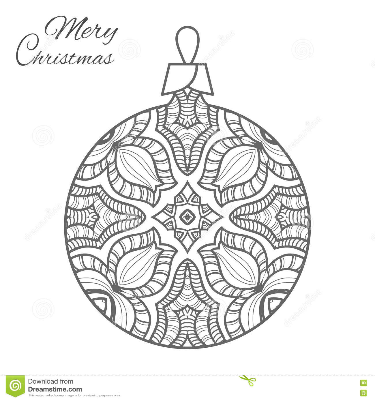 Christmas Ball Zen-doodle Art For Adult Coloring Book Page