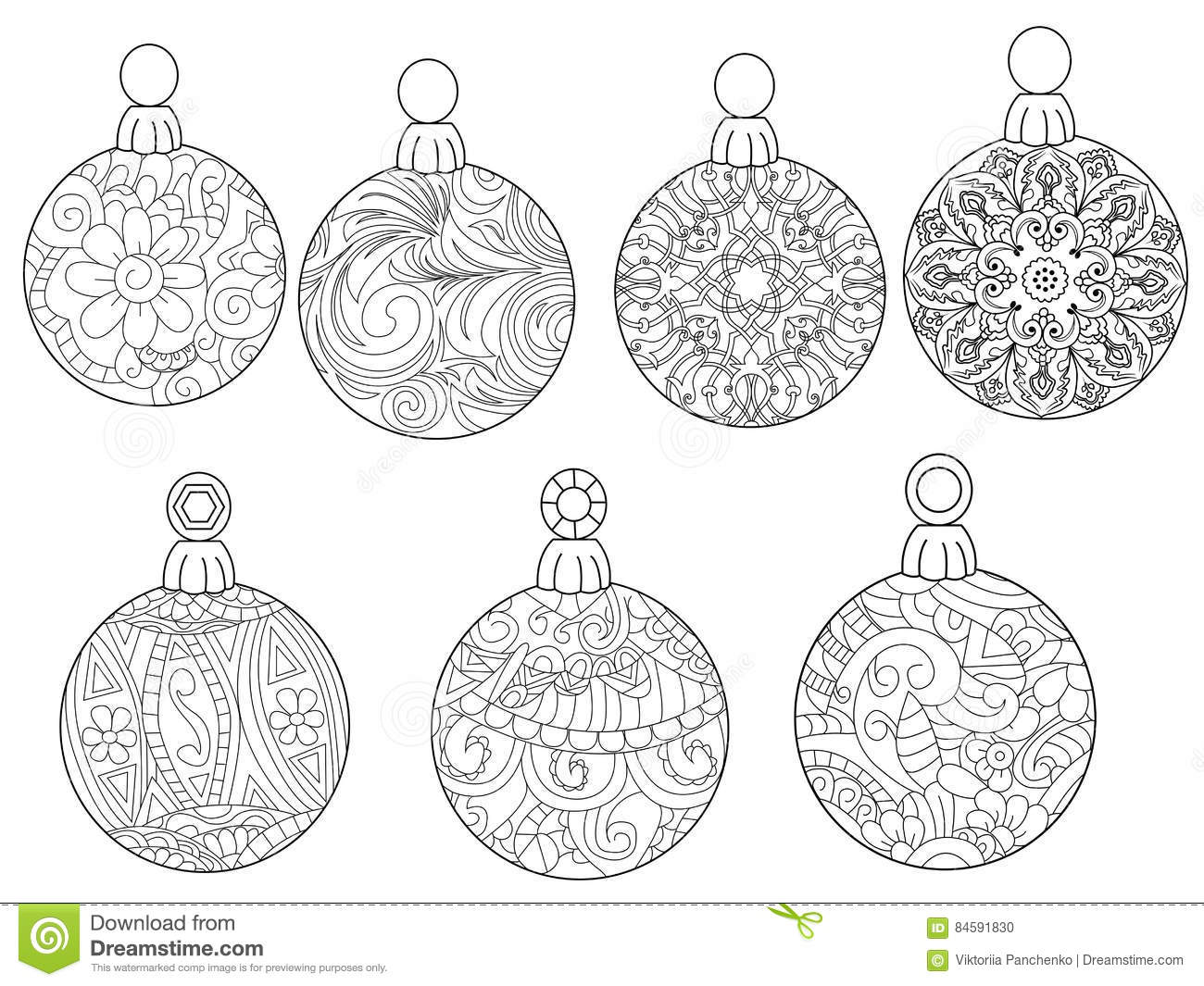 Christmas Balls Coloring Vector For Adults Stock Vector