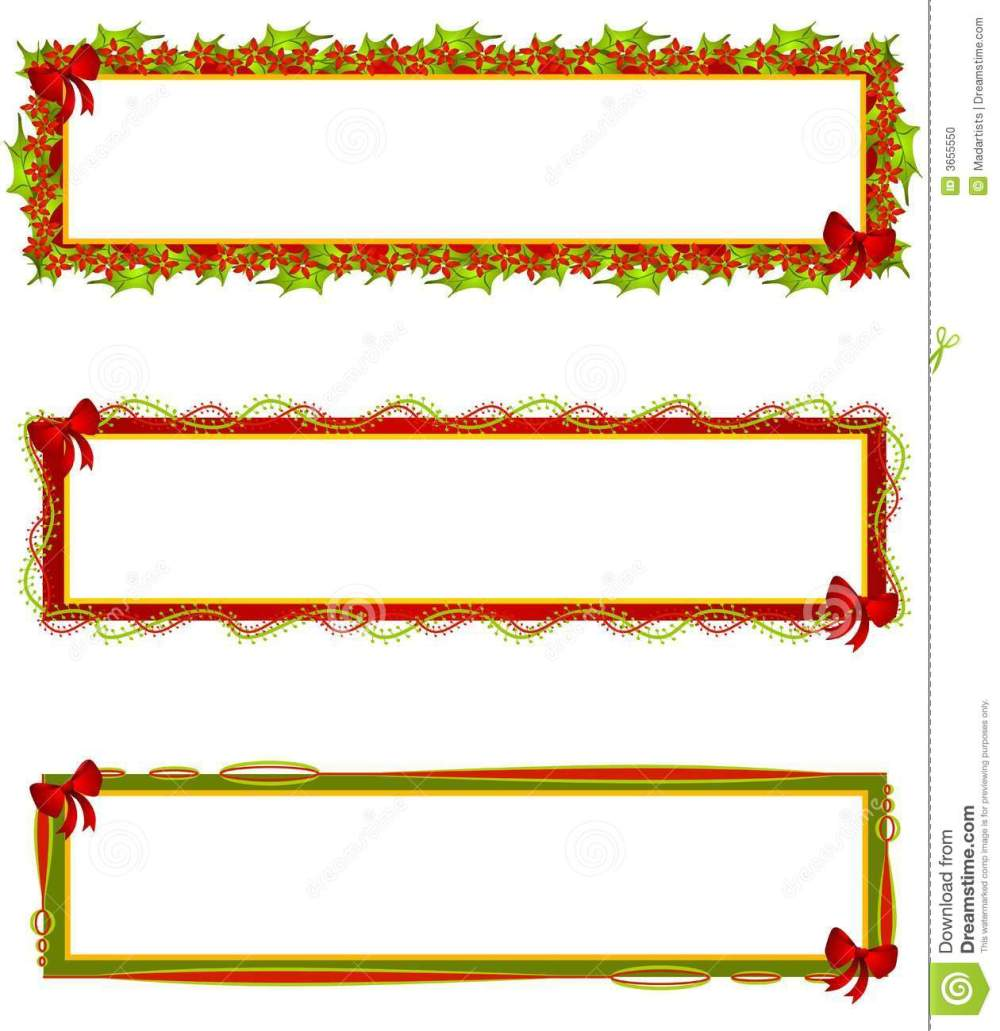 medium resolution of a clip art illustration of your choice of 3 christmas themed banners logos or labels a mix of decorative bows ribbons holly leaves and poinsettia
