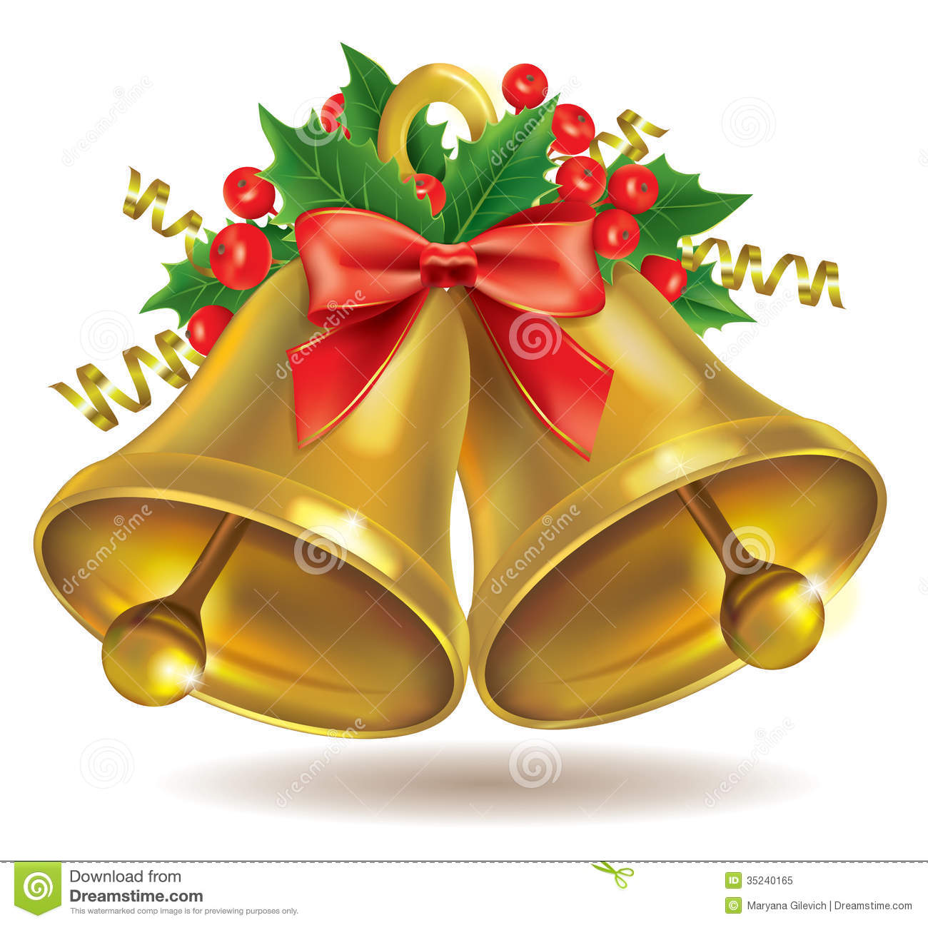 Gold Christmas Bell Drawing