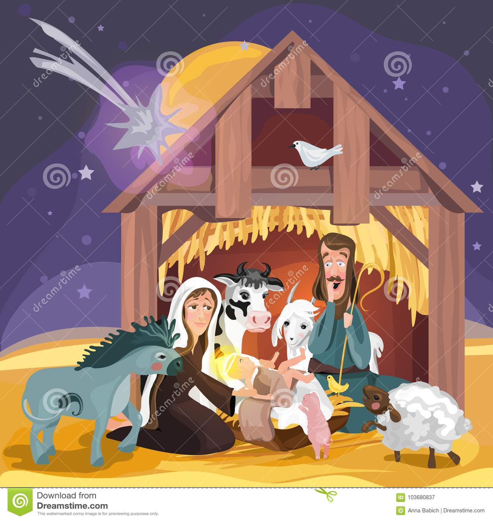 Christmas Bible Story Christmas Nativity Card Stock