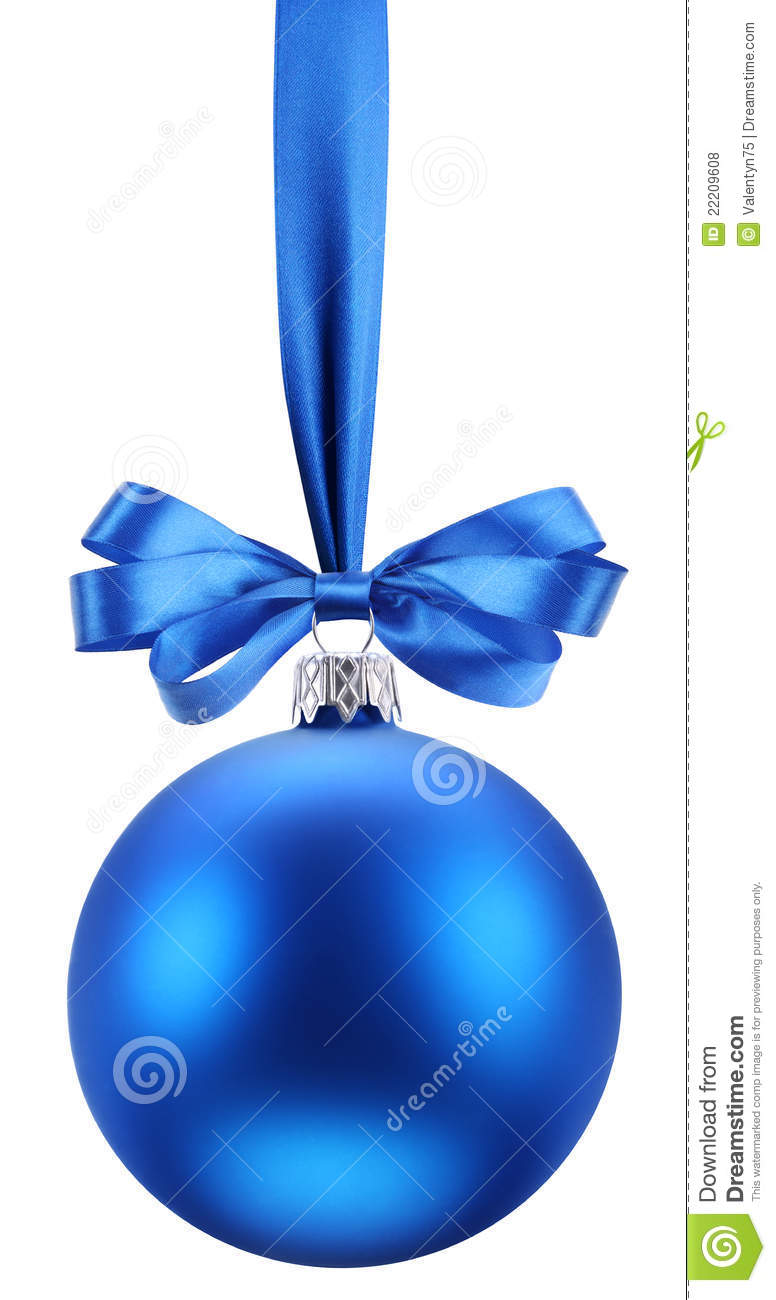Christmas Blue Ball On The Festive Ribbon Royalty Free
