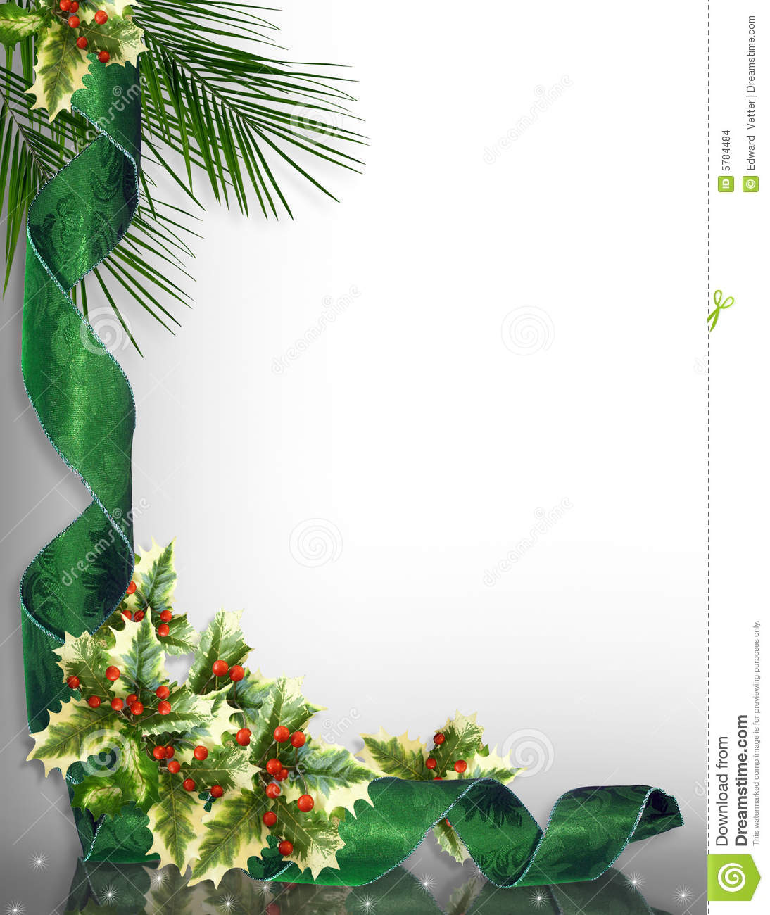 Christmas Border Corner Design Green Stock Illustration