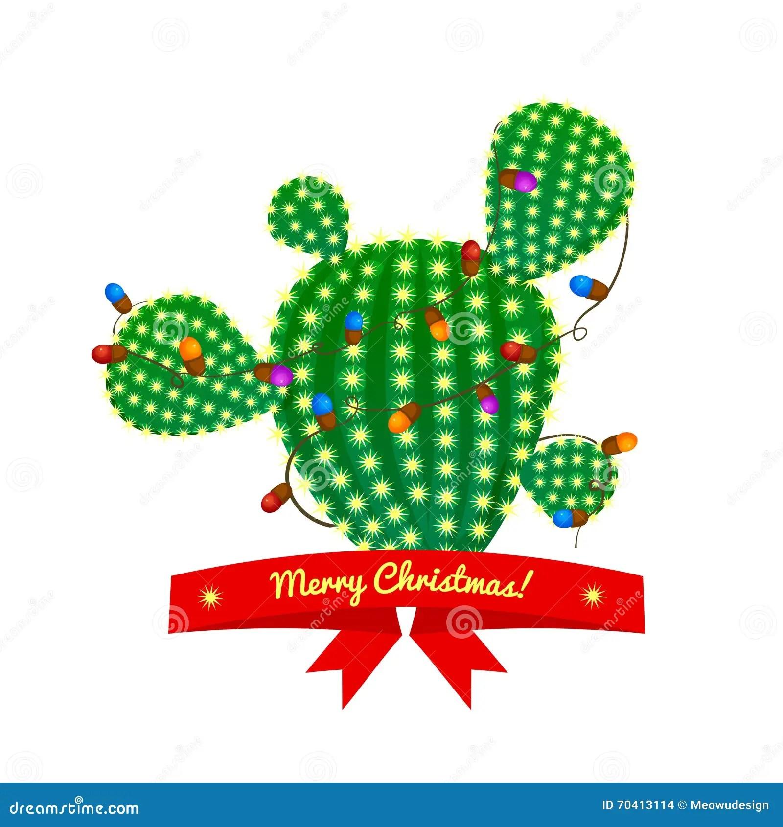 Christmas Cactus Tree Vector Illustration Stock Vector