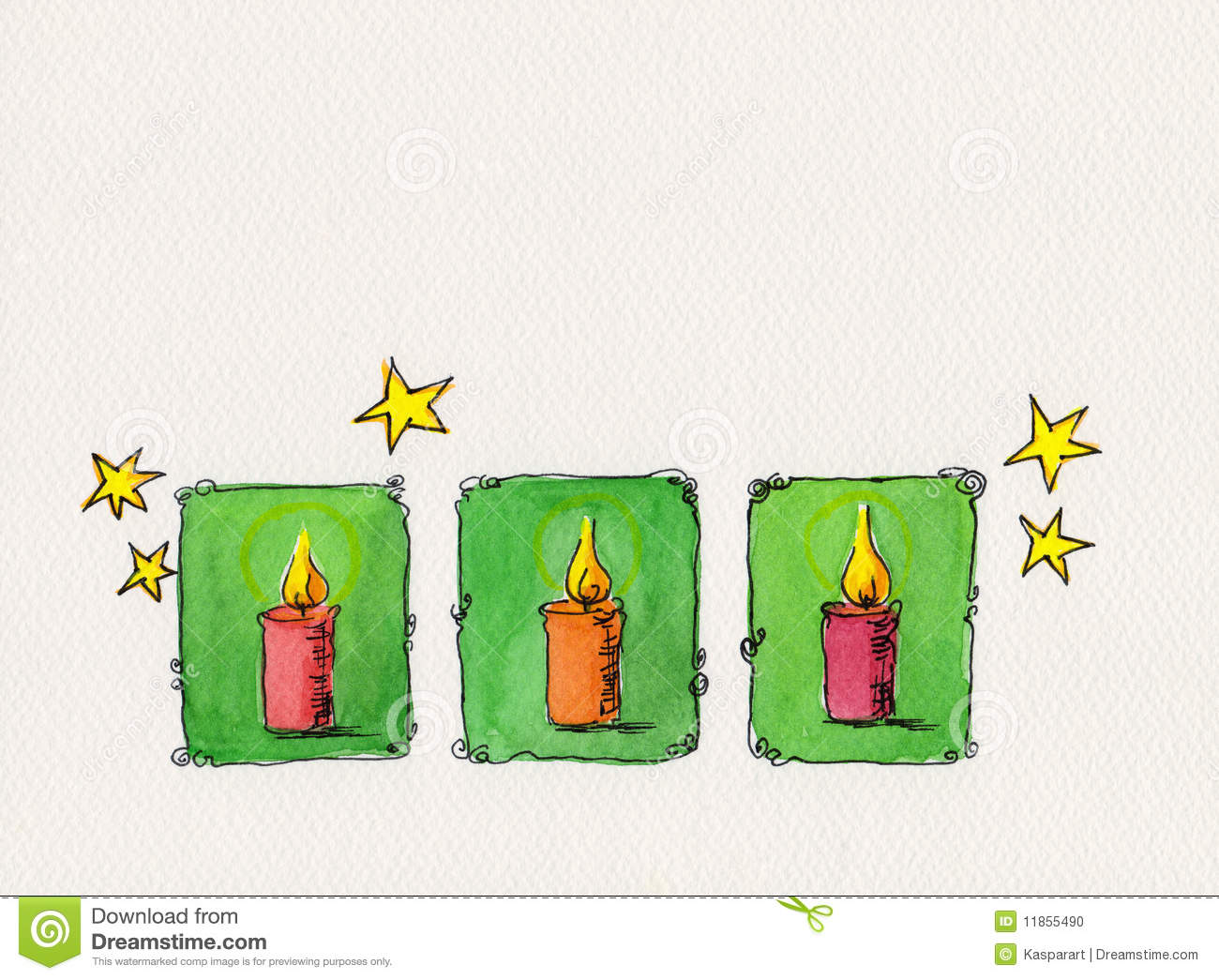 Christmas Candles Watercolor Painting Stock Illustration