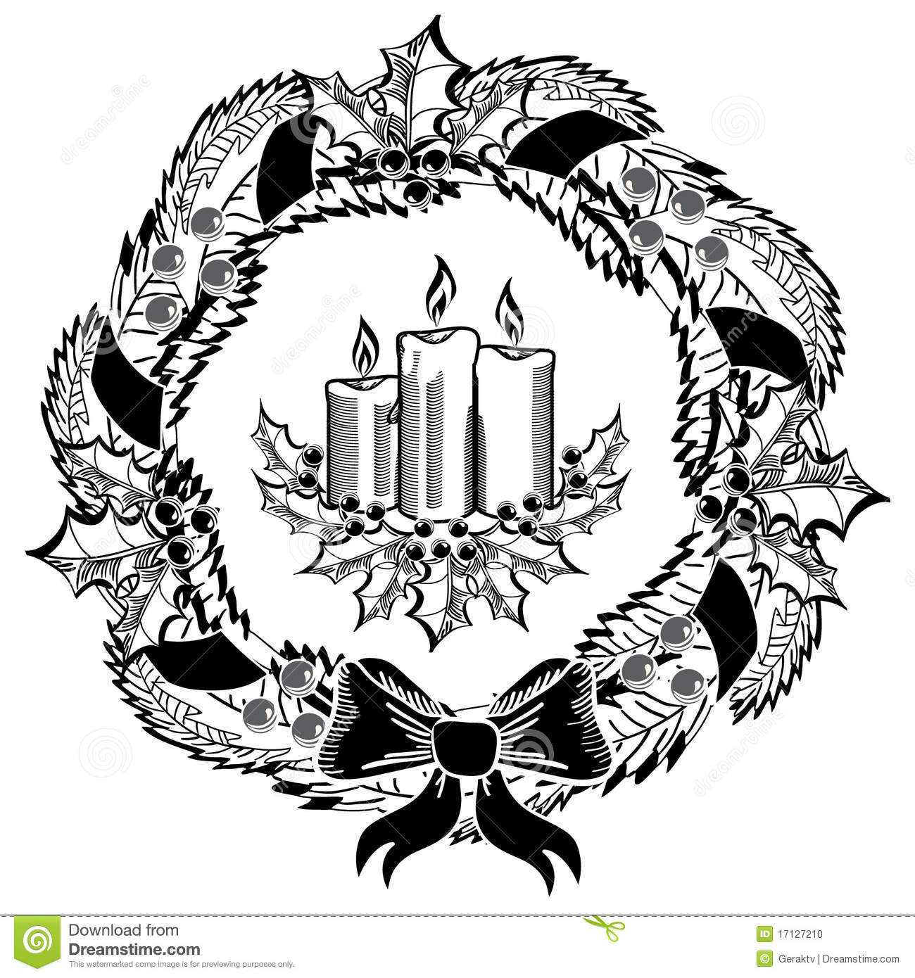 Christmas Candles And Wreath Stock Vector