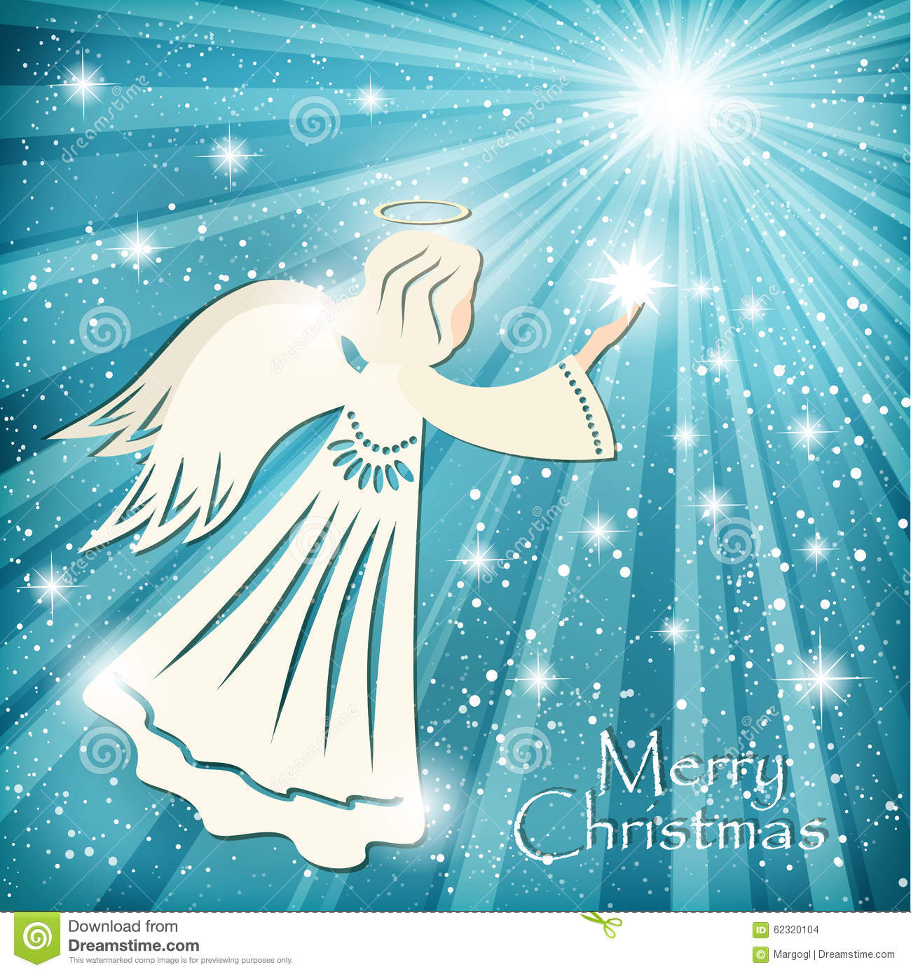 Christmas Card Angel And The Sparkling Stars In The Night