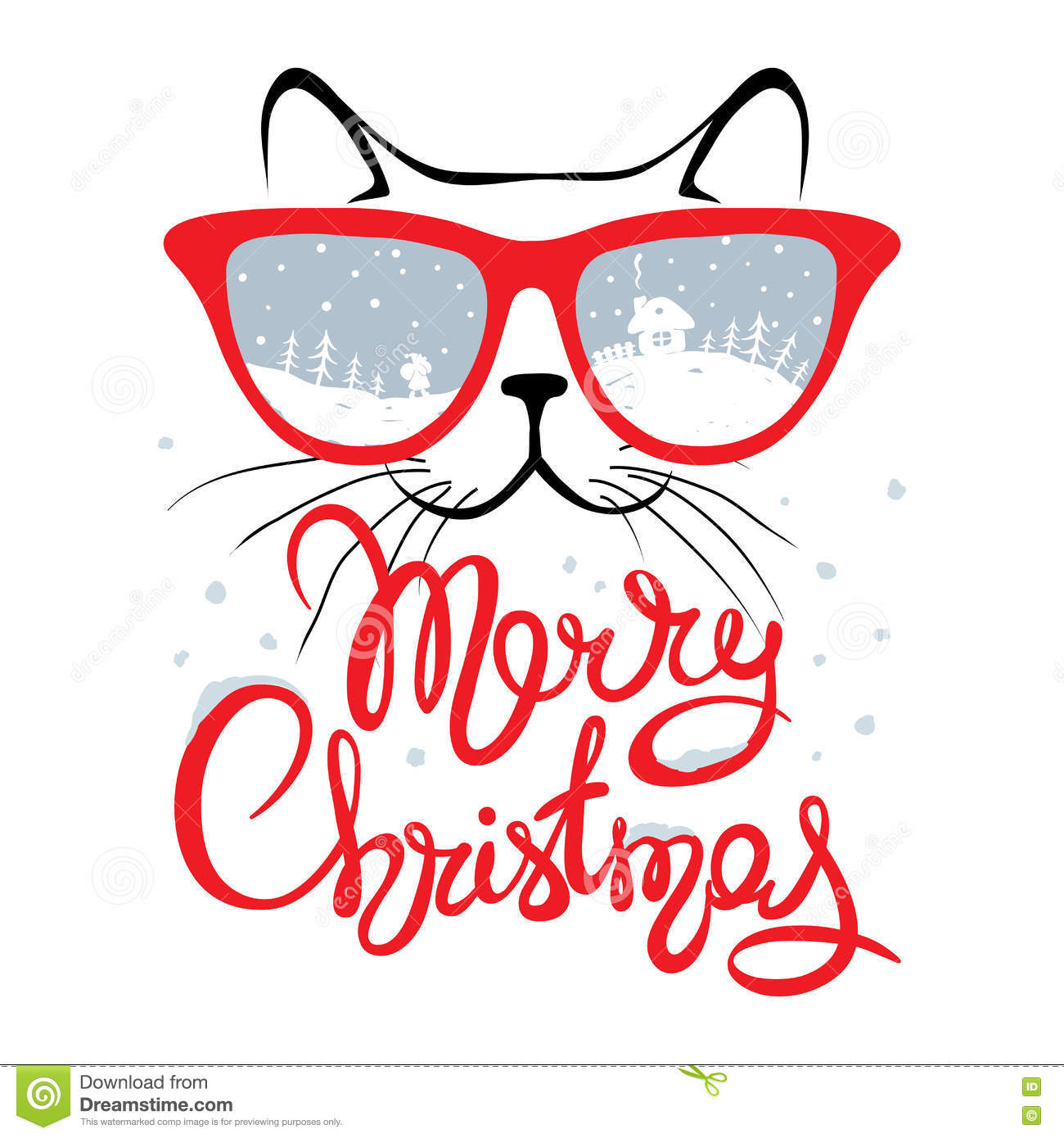 Christmas Card Cat In Glasses Stock Vector Illustration