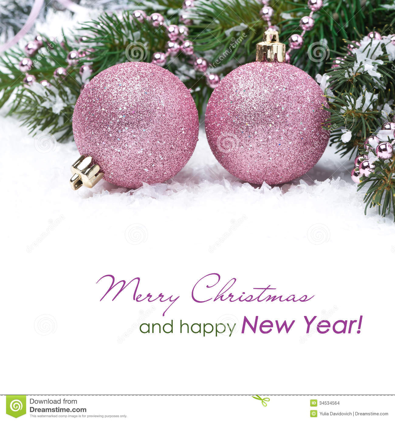 Christmas Card With Pink Baubles Stock Photo Image 34534564