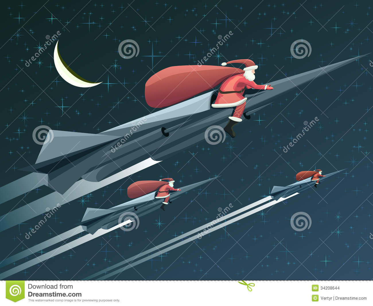 Christmas Card With Santa Claus On Rockets At Night Stock