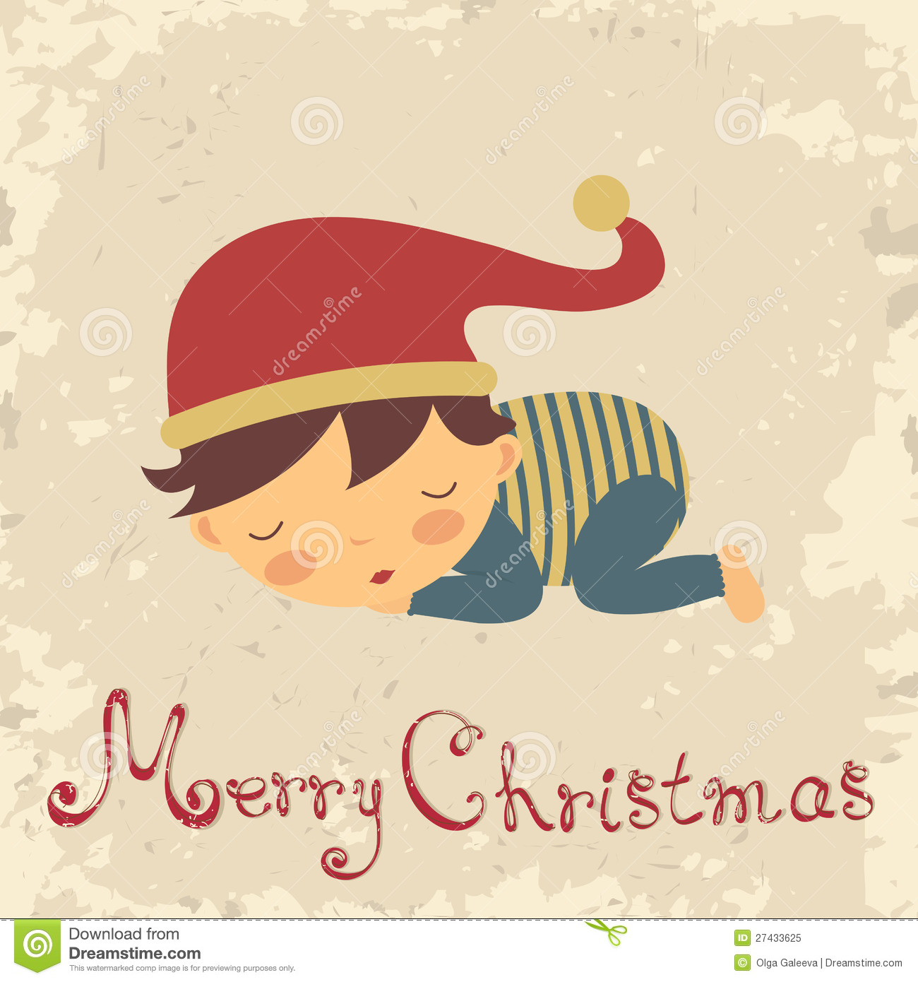 Christmas Card With Sleeping Baby Boy Stock Illustration