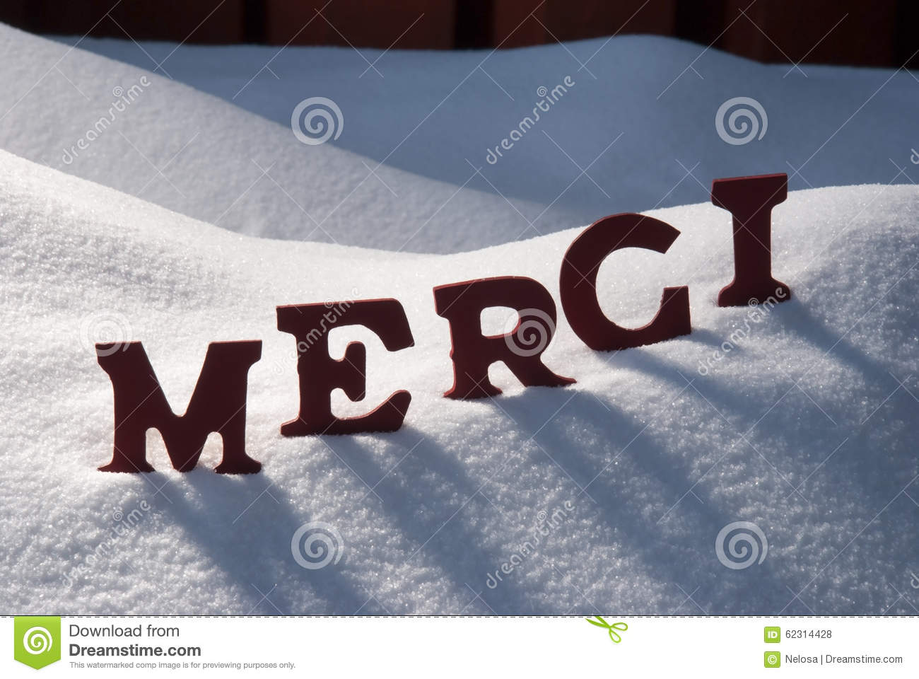Christmas Card With Snow Merci Mean Thank You Stock Photo