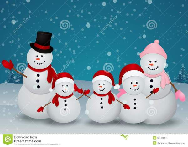 Christmas Card With Snowman And Family Royalty Free Stock