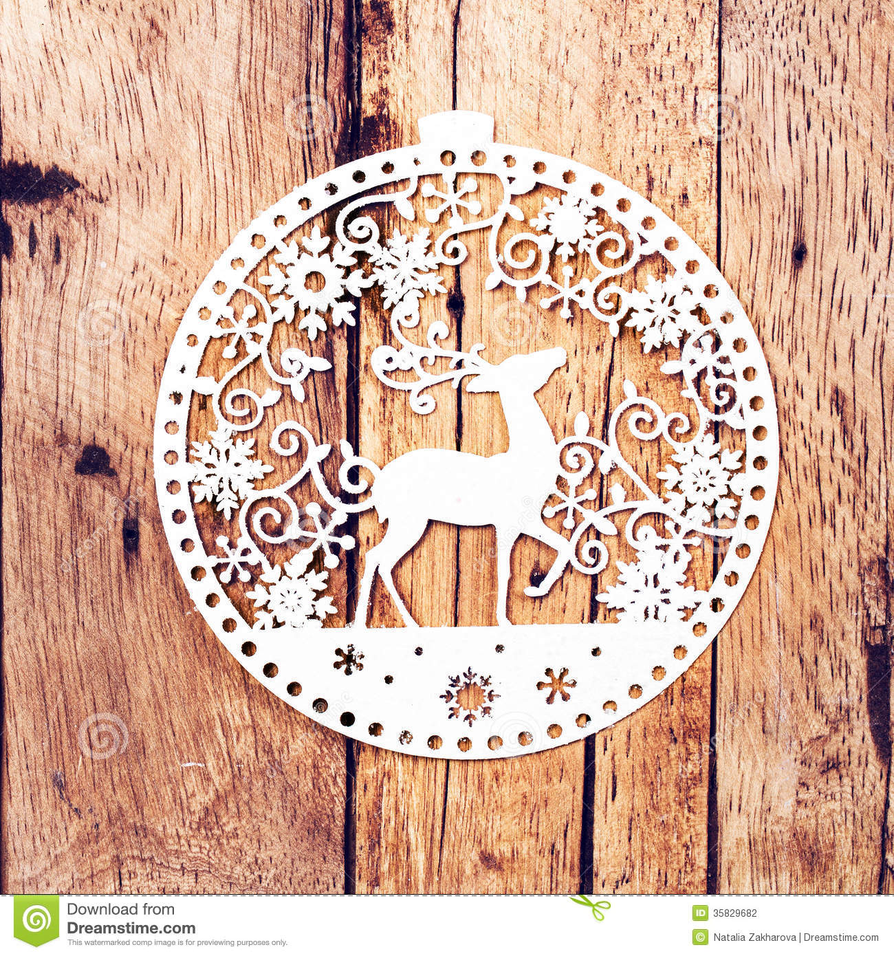 Christmas Card With White Christmas Ornaments On Rustic