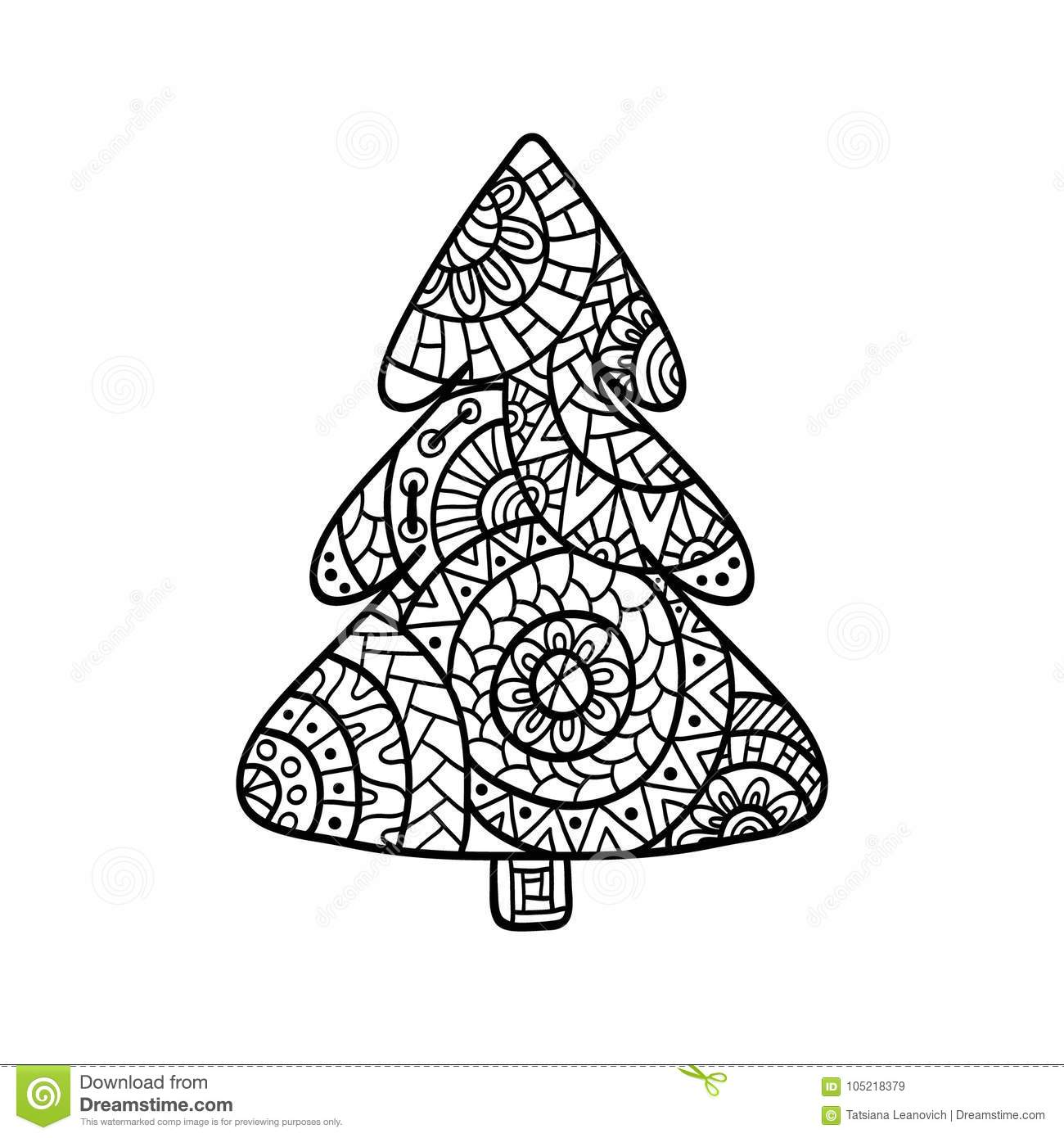 Christmas Card In Zentangle Style For Adult Anti Stress