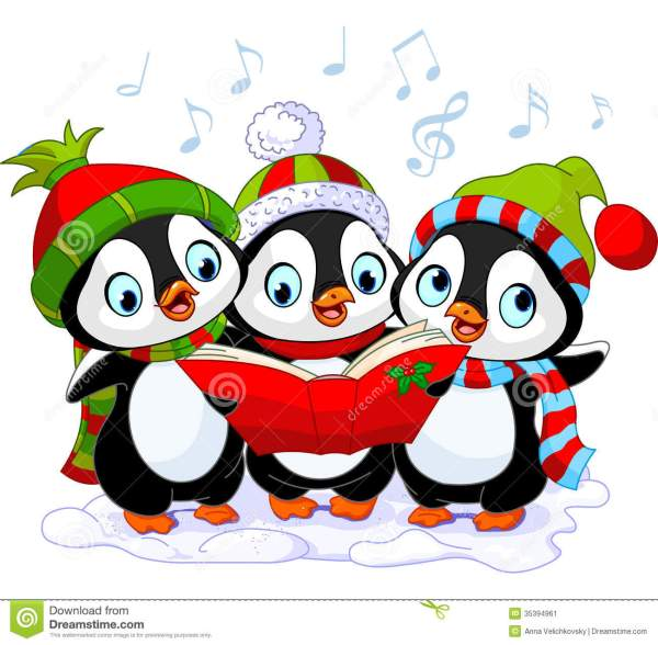 christmas carolers penguins stock