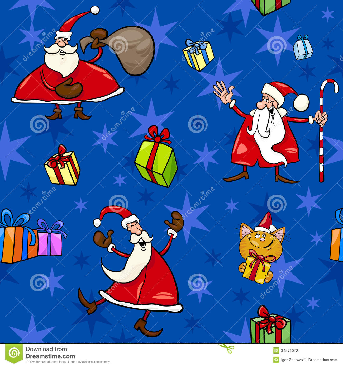 Cute Mittens Wallpaper Christmas Cartoon Seamless Pattern Decor Stock Photography