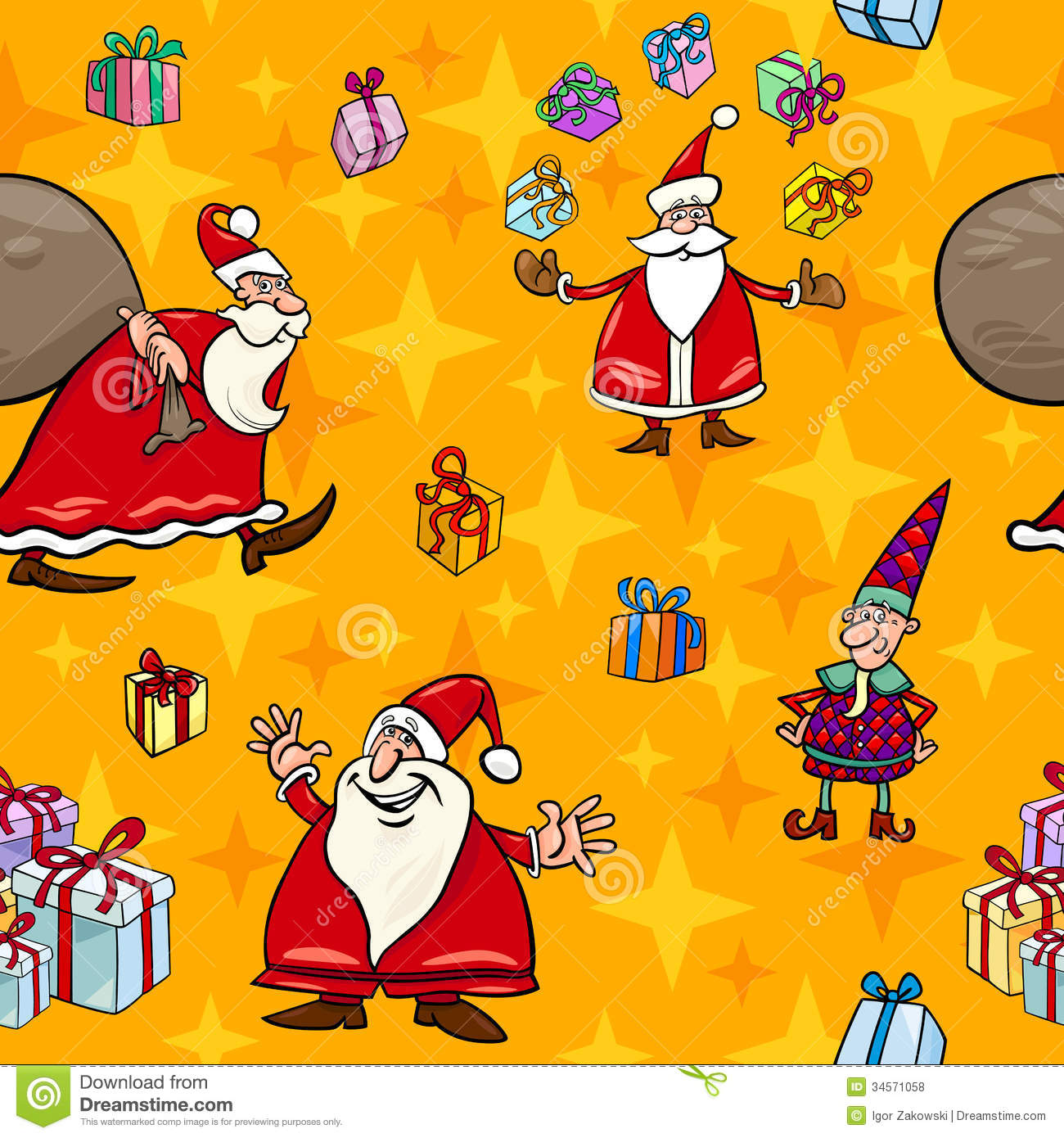 Christmas Cartoon Seamless Pattern Wrapper Royalty Free