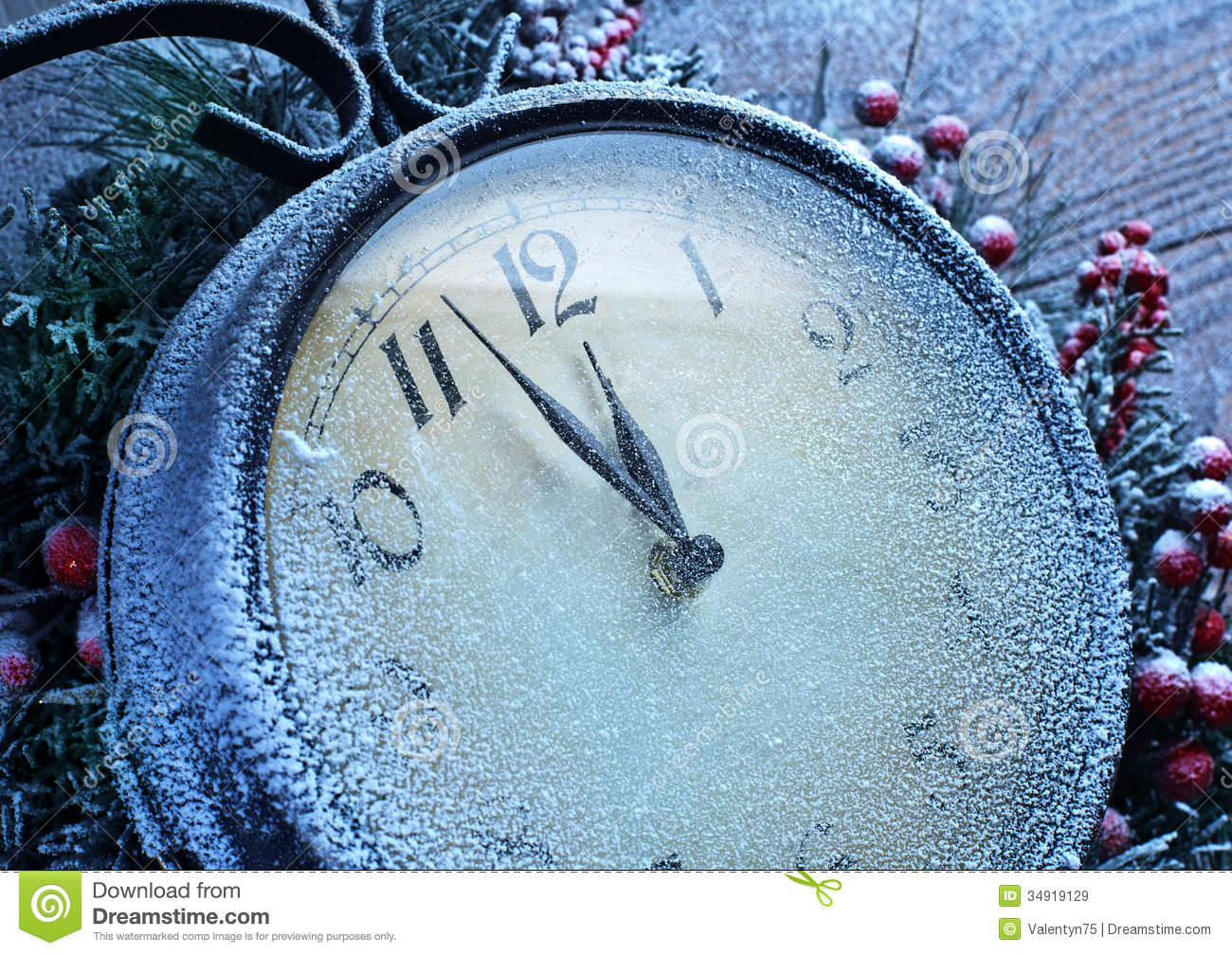 Christmas Clock Over Snow Wooden Background Royalty Free
