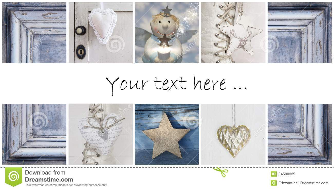 Christmas Collage In Blue Ideas For Decoration Or A