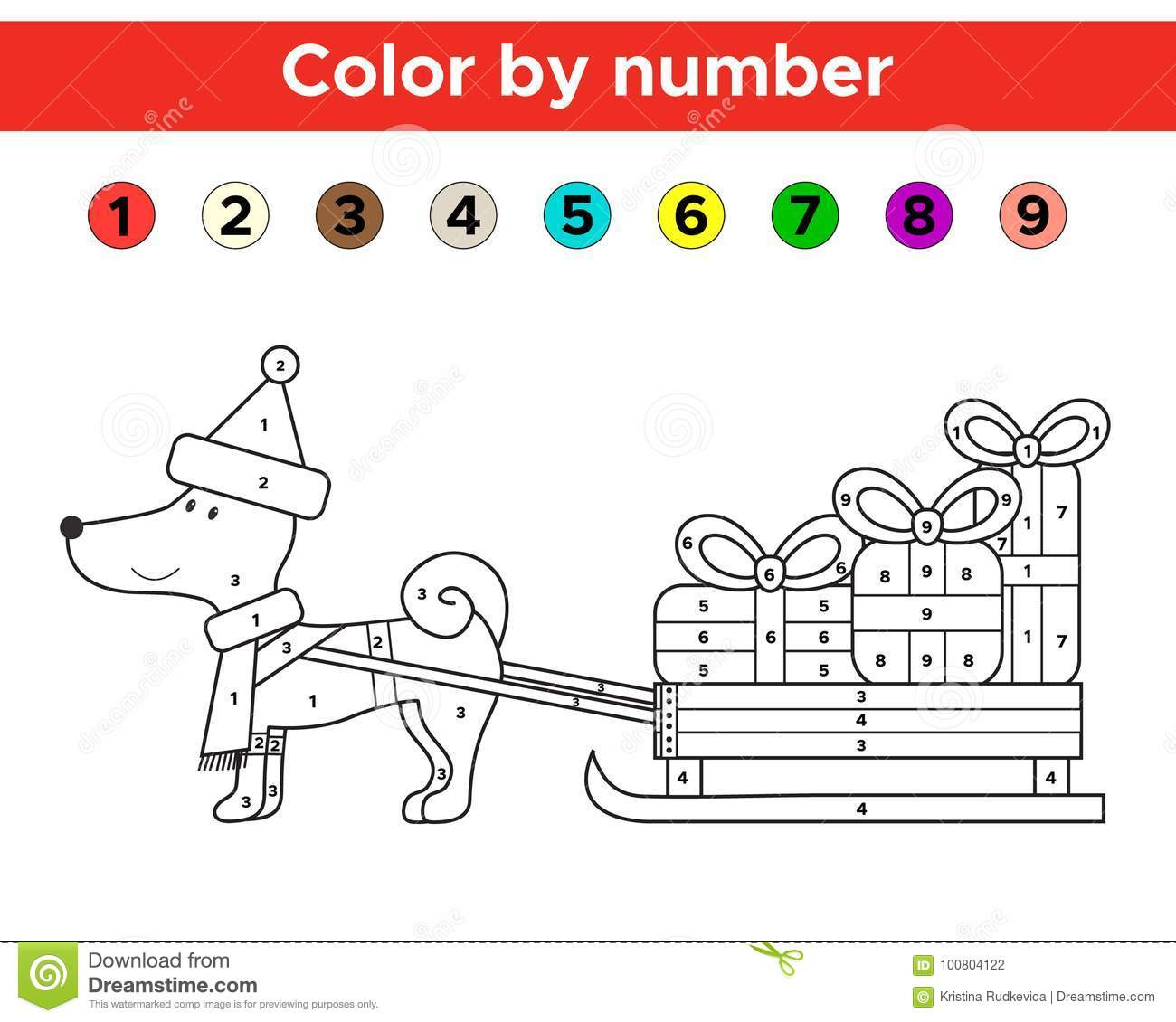 Christmas Color By Number For Preschool And School Kids