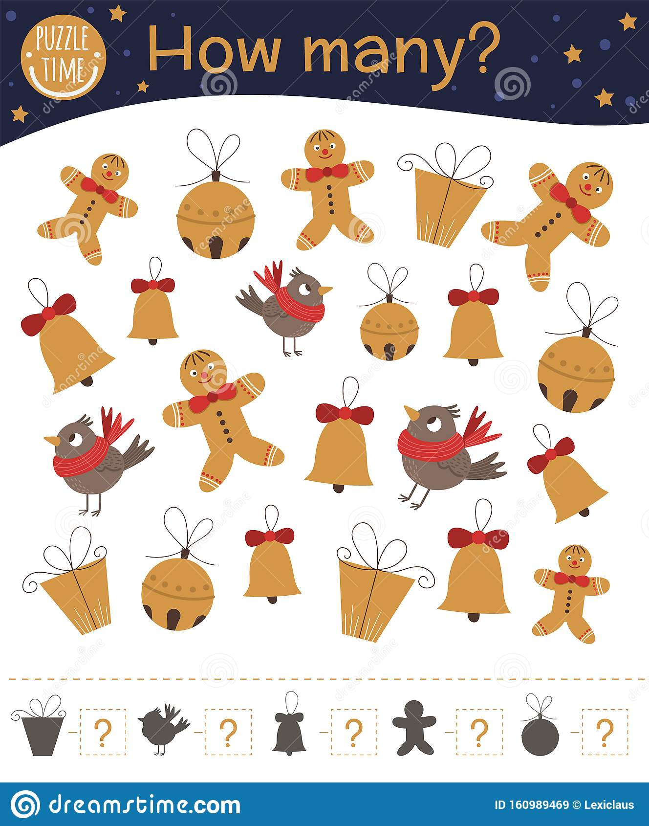 Christmas Counting Game With Gingerbread Man Bell