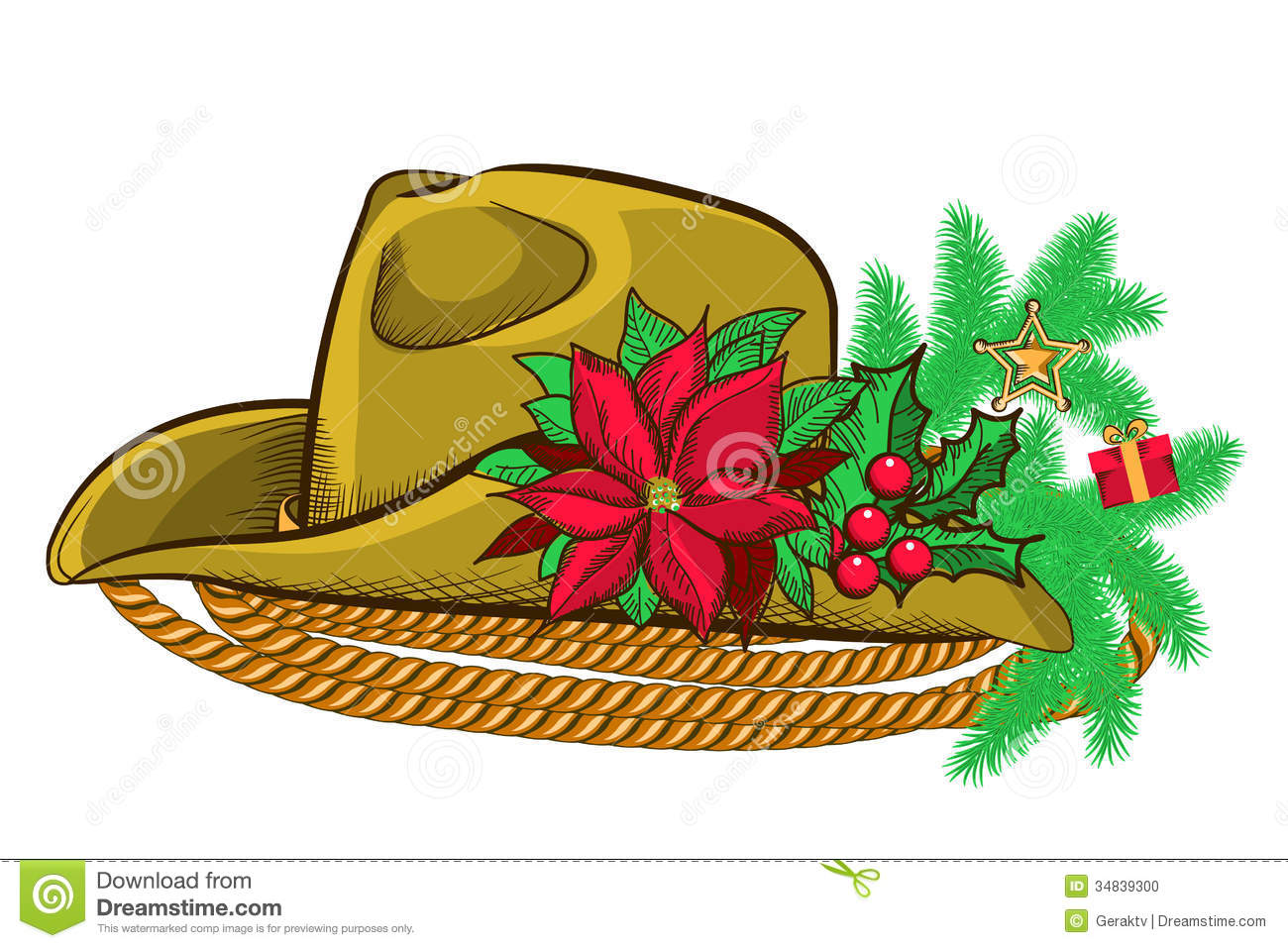 hight resolution of christmas cowboy hat and holiday elements