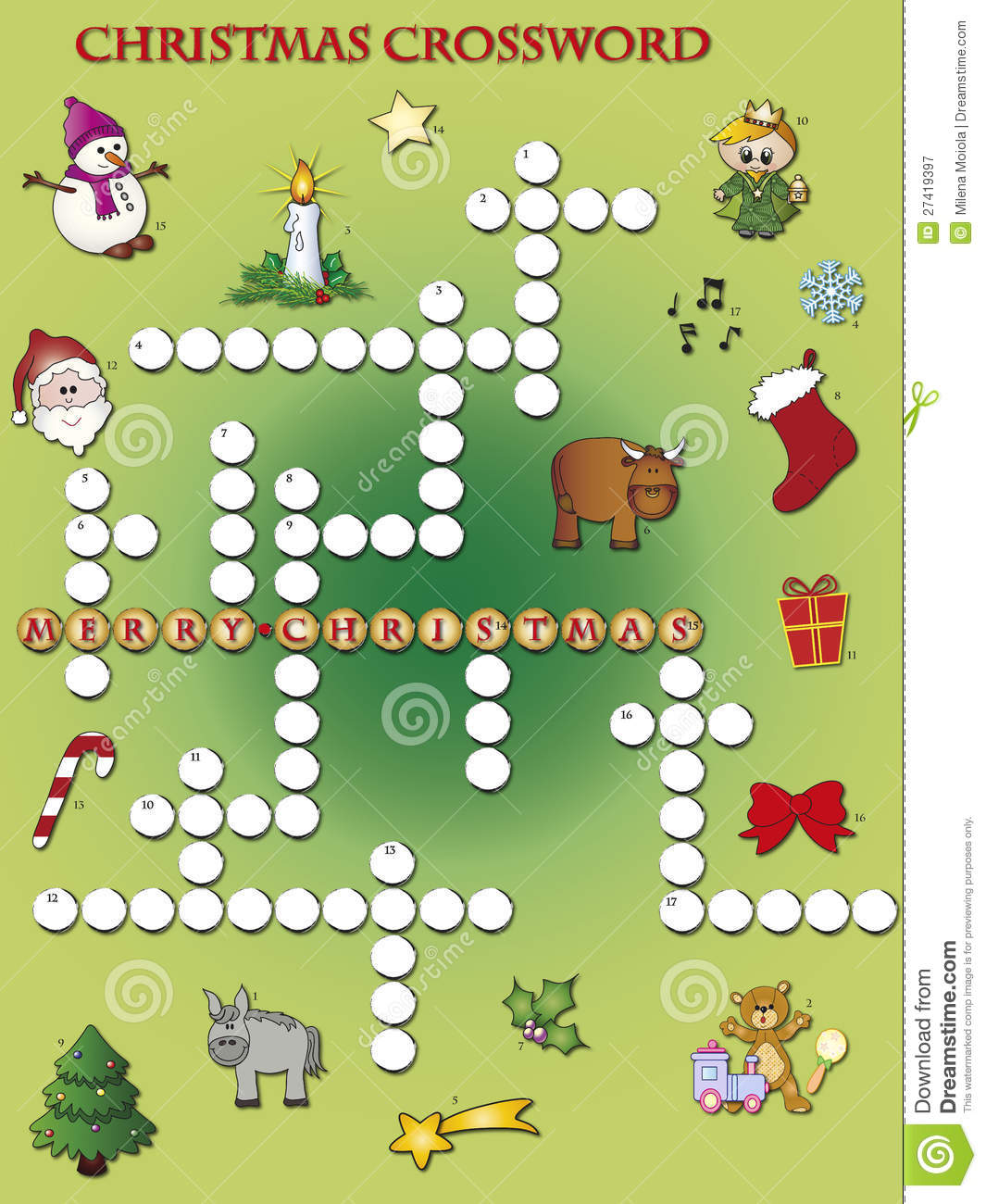 Christmas Crossword Stock Illustration Illustration Of