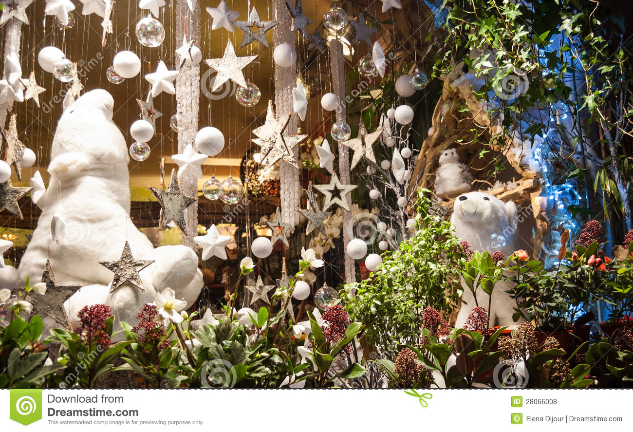Christmas Decoration In Flower Shop Royalty Free Stock