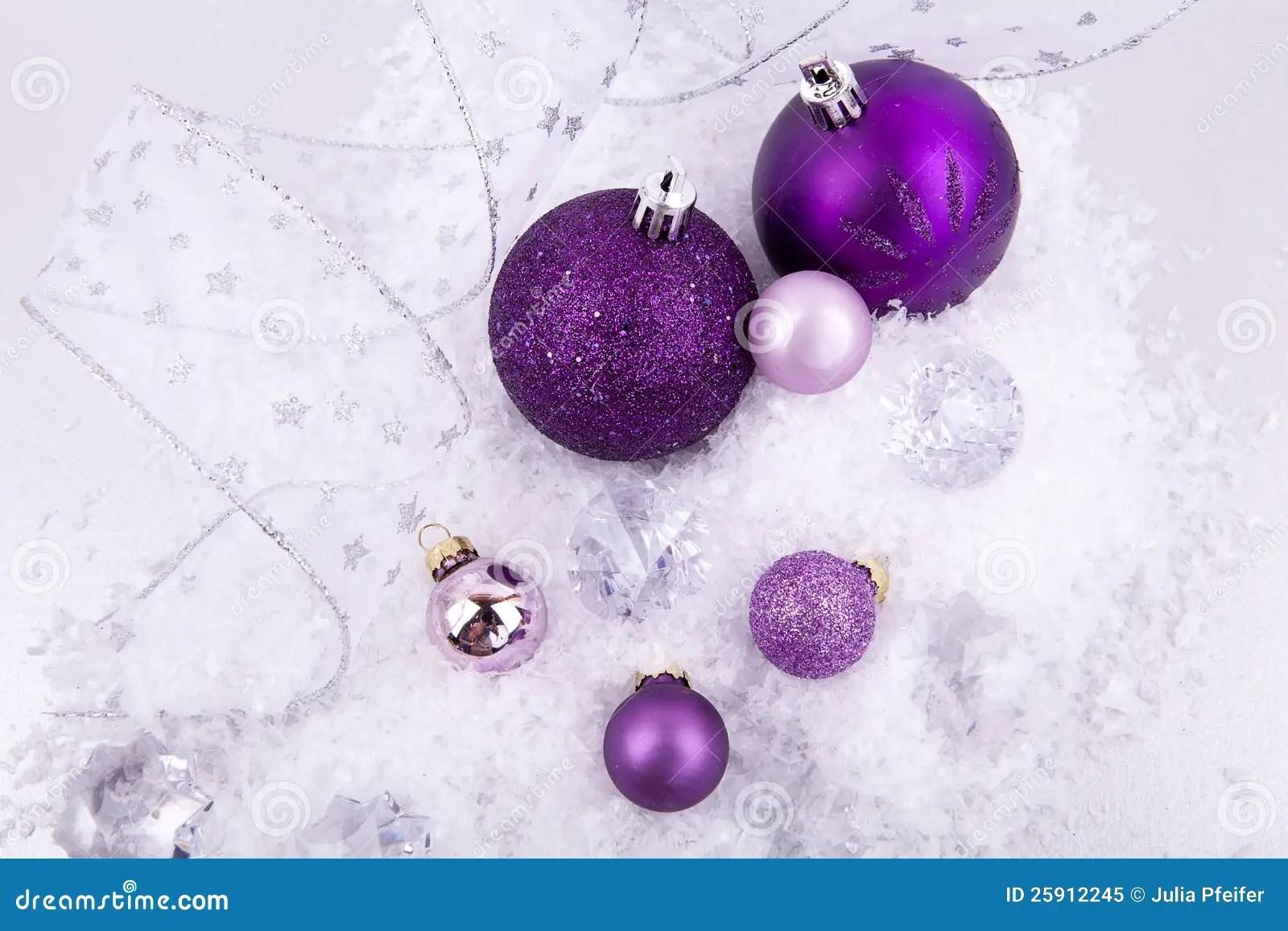 Christmas Decoration Purple Silver On Snow Stock Image