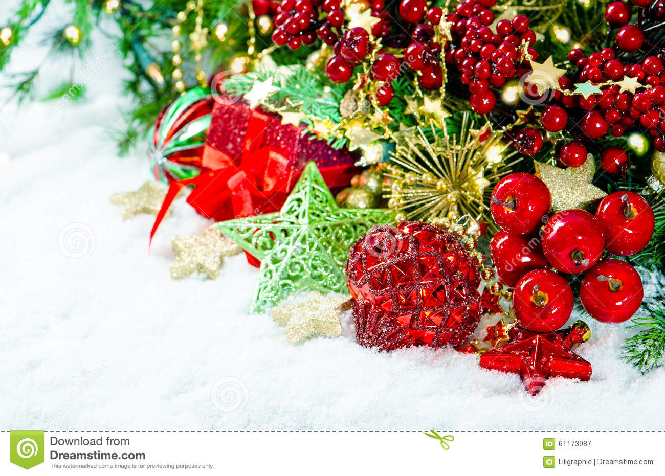 Christmas Decoration Red Gold Green Over White Background