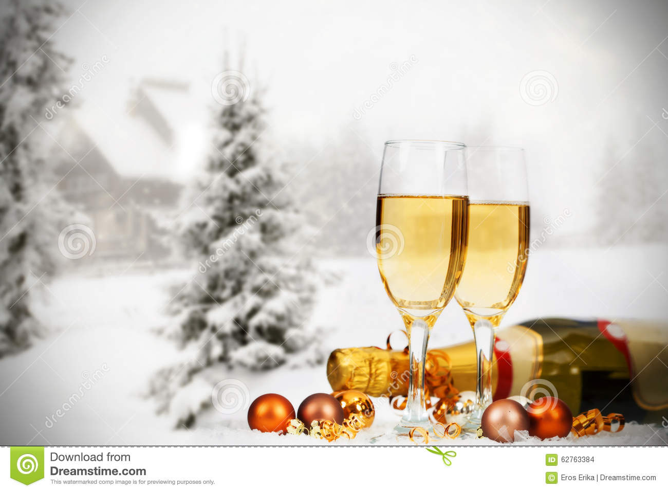 Xmas Tree Hd Wallpaper Christmas Decorations And Champagne Against Winter