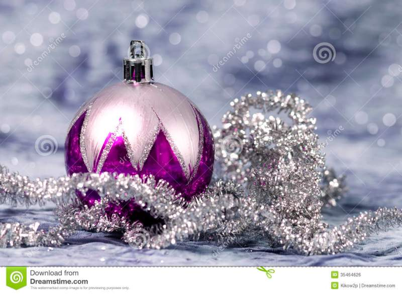 christmas decorations purple and silver stock photo image of