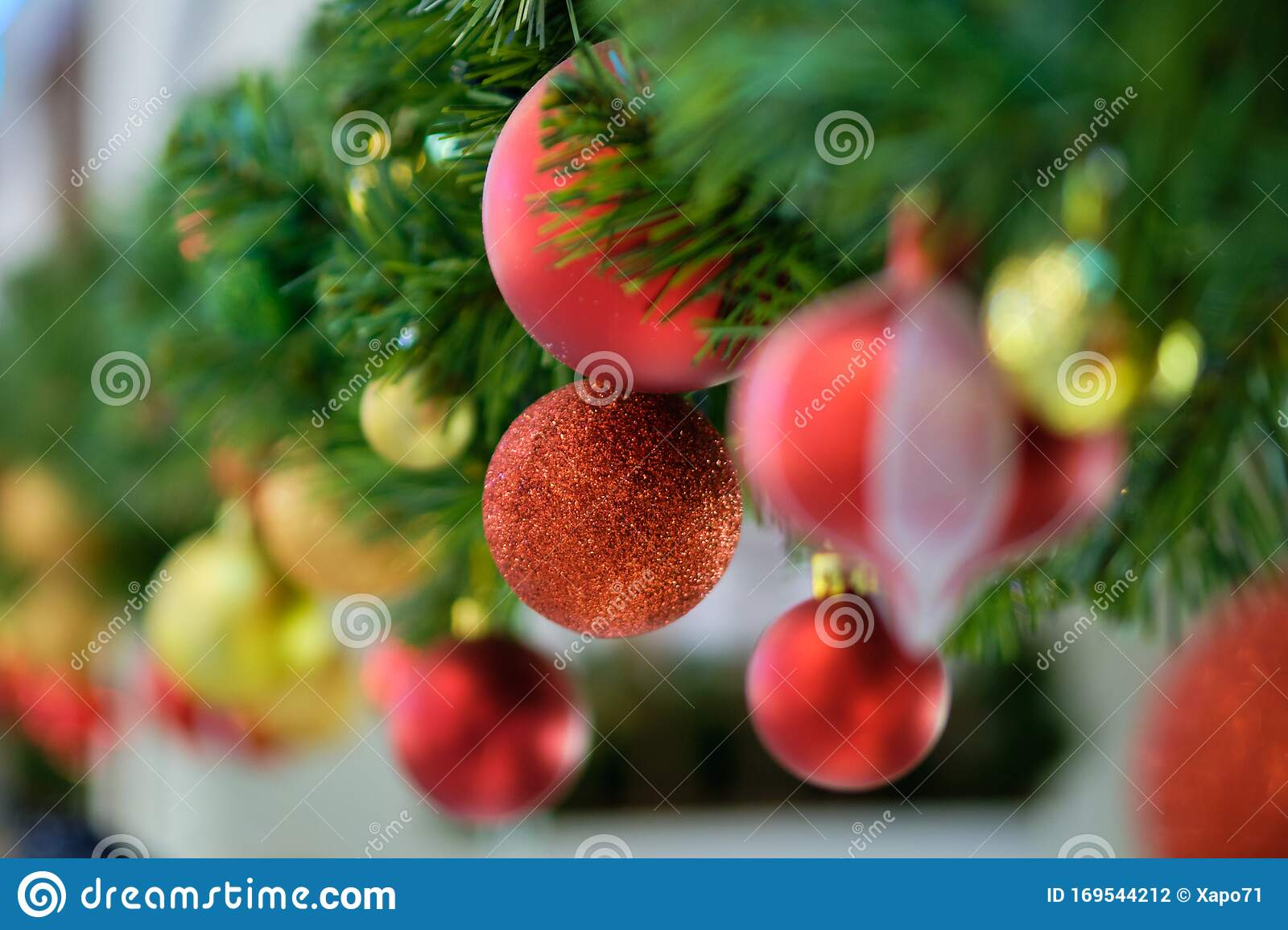 Christmas Decorations Red And Gold Balloons Branch Stock Photo Image Of Card Traditional 169544212