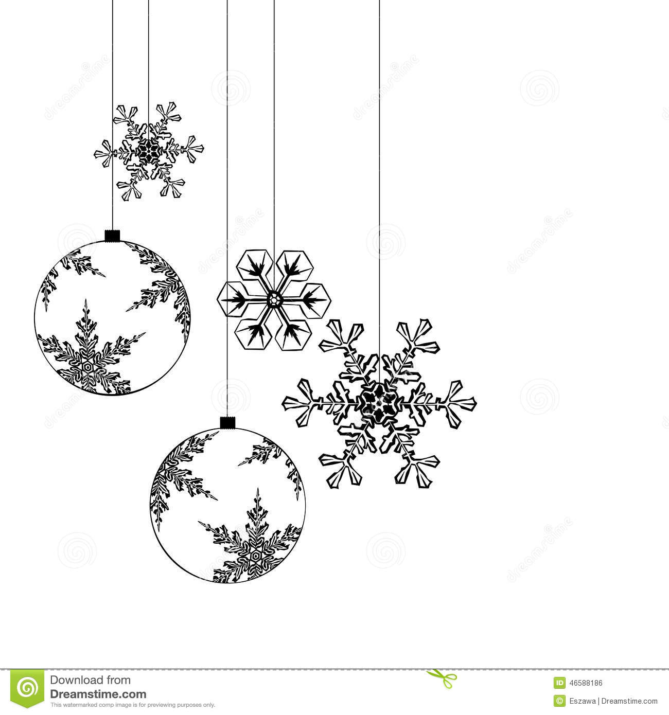 Christmas Decorations Separated On White Background Stock