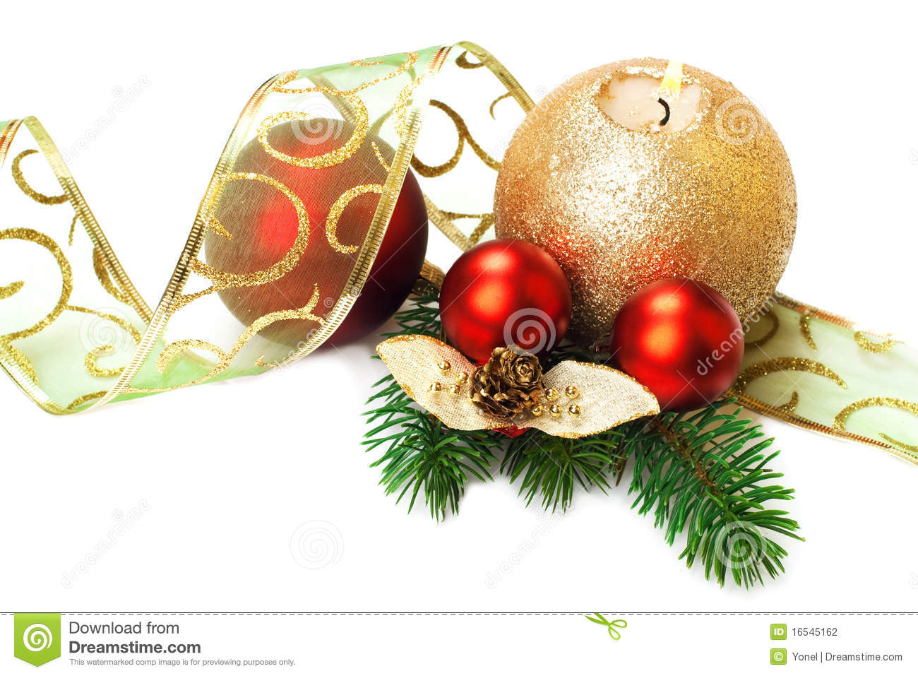 Christmas Decorations On White Background Stock