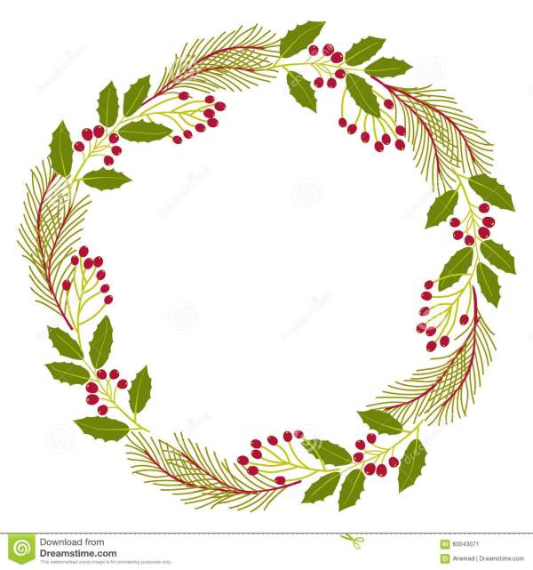 Christmas Decorative Wreath Of Natural Holly Ivy