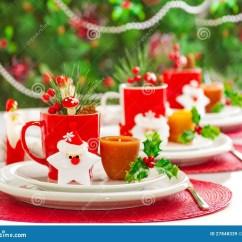 Red Kitchen Table Set Backsplash For Kitchens Christmas Dinner Decoration Stock Image - Image: 27848339