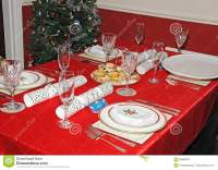 Christmas Dinner Table Setting. Stock Image - Image of ...