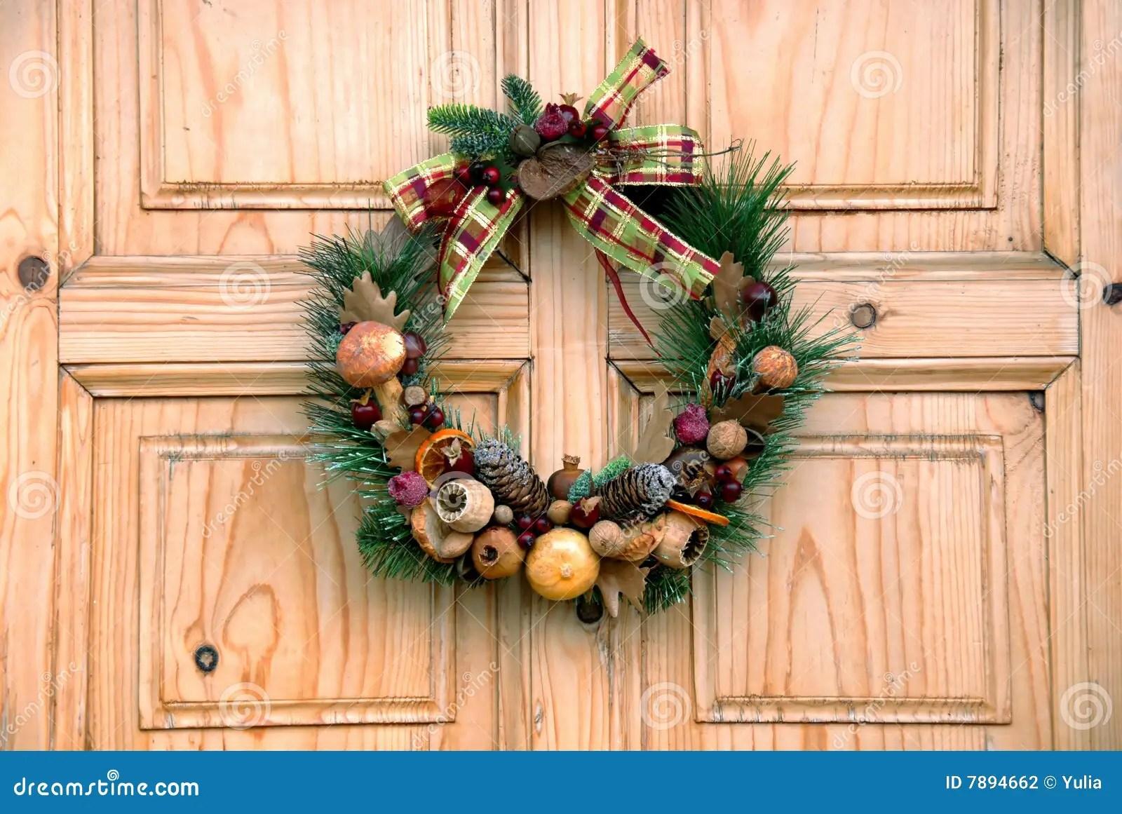 Christmas Door Decoration Stock Photography