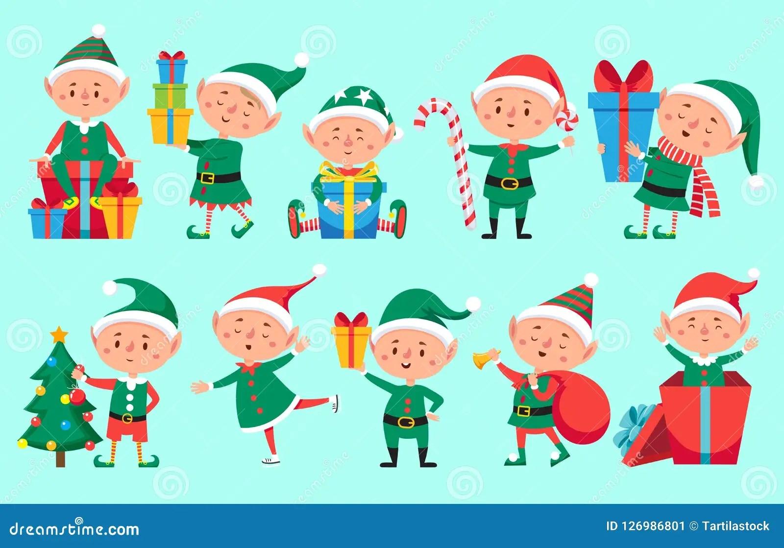 Christmas Elf Character Cute Santa Claus Helpers Elves